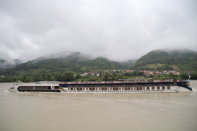Our bike group passed our ship The AMAStella on our rainy ride in the Wachau Valley