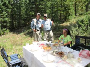 Our fishing guides Will and Trevor serve up a great lunch