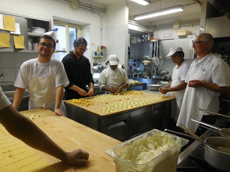 Pasta machine at work in Grazie Italy