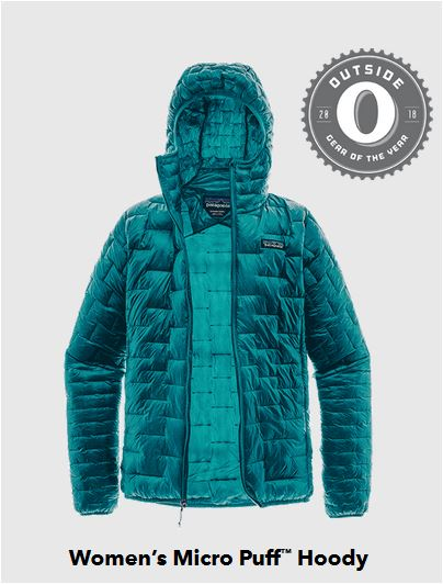 Micro-puff hoody from Patagonia keeps the chill off, packs small