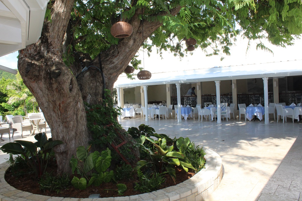Patio for dancing outside Tamarind Restaurant at Curtain Bluff