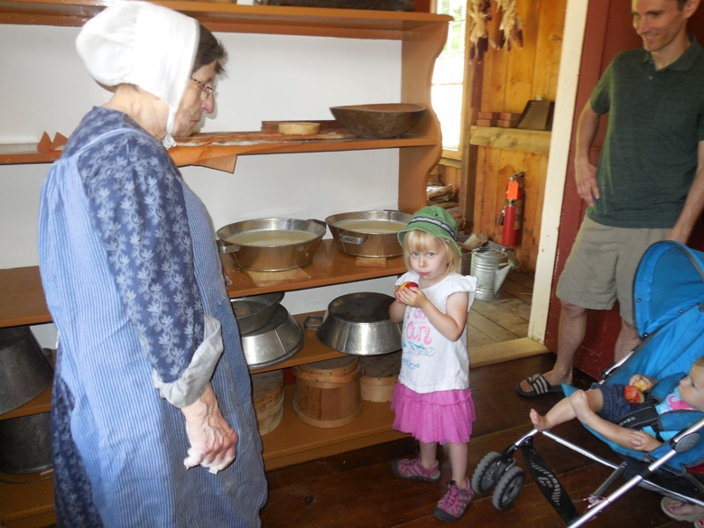 Peg Young and Willa in the farmhouse
