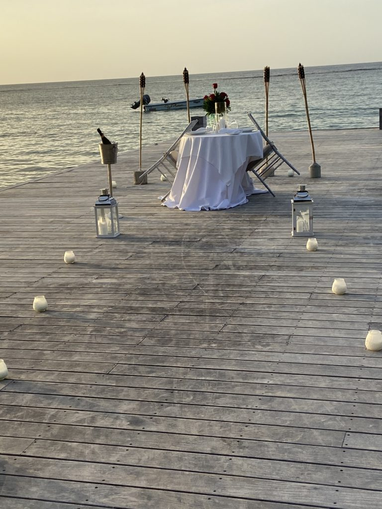Setup for a romantic dinner on the beach at Sandals Royal Plantation