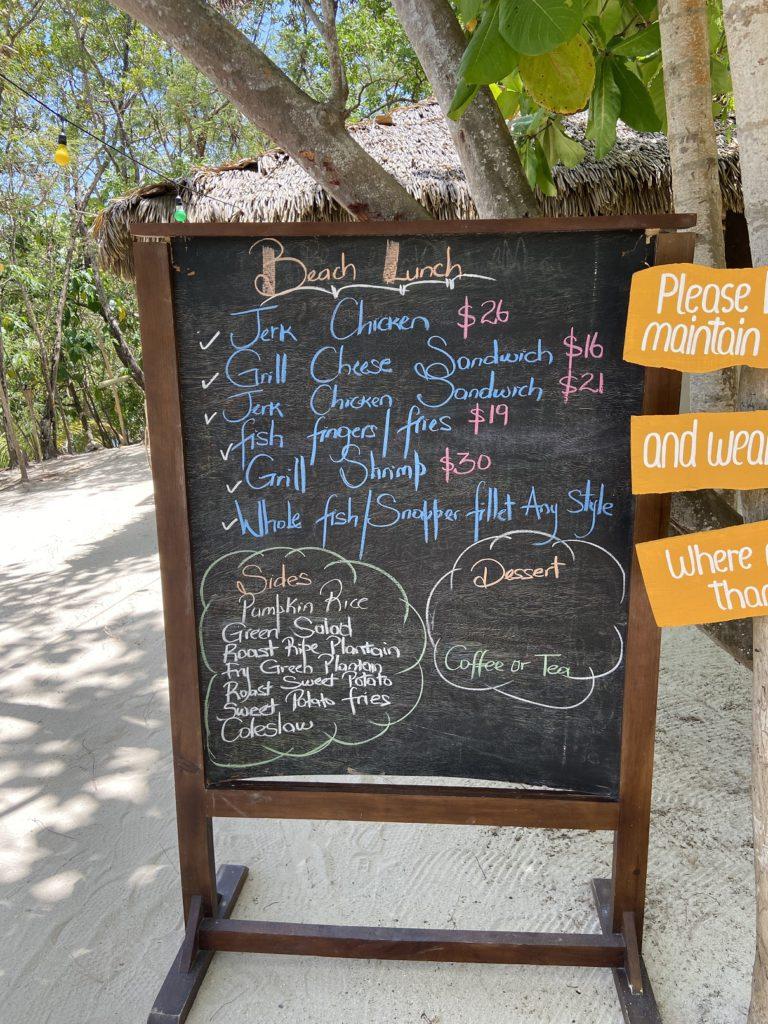 Lunch Menu at Button Beach