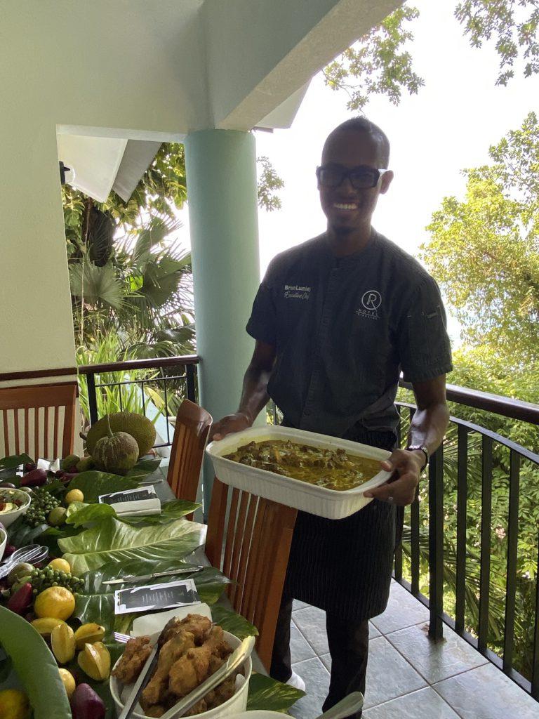Top Jamaican Chef Brian Lumley serves dish at Star San Villa