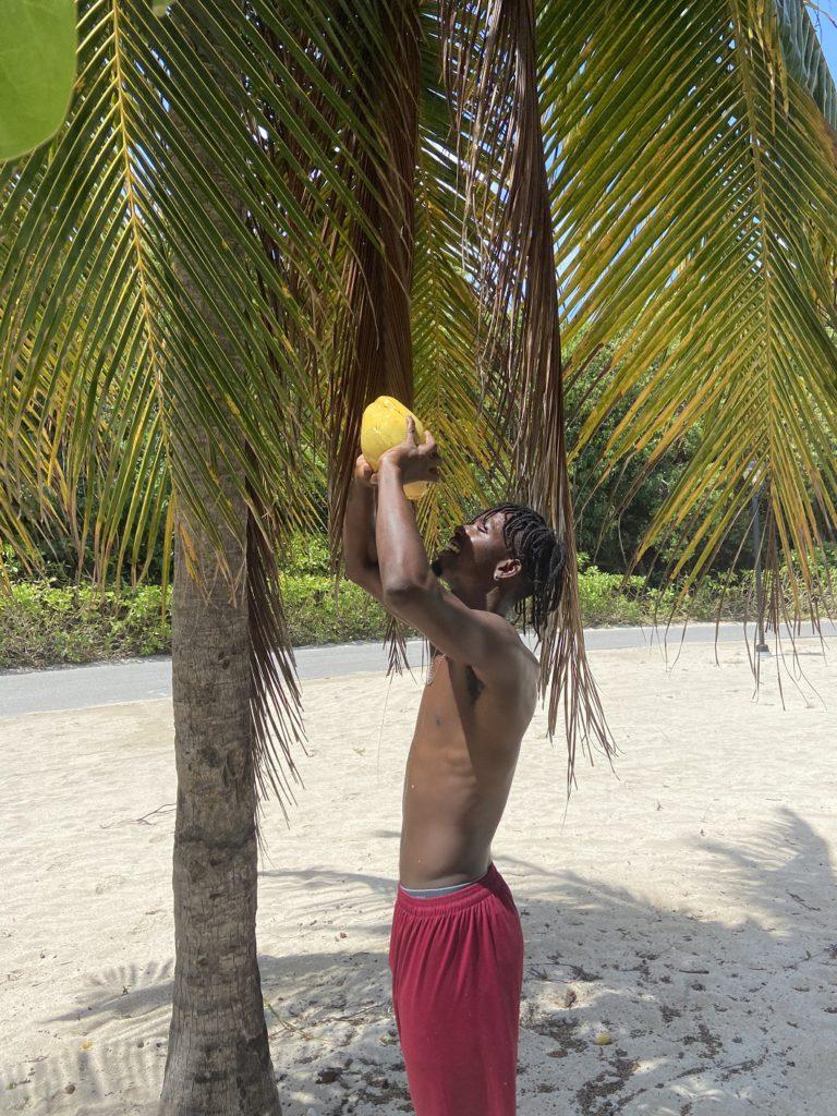 """Steady"" Stedman drinking coconut water"
