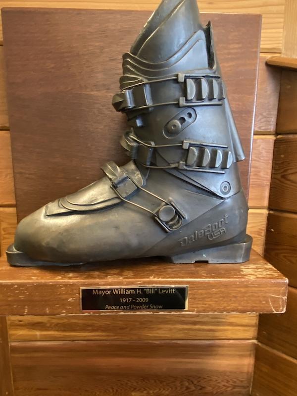 Bronzed ski boot of Alta's legendary Mayor Bill Levitt
