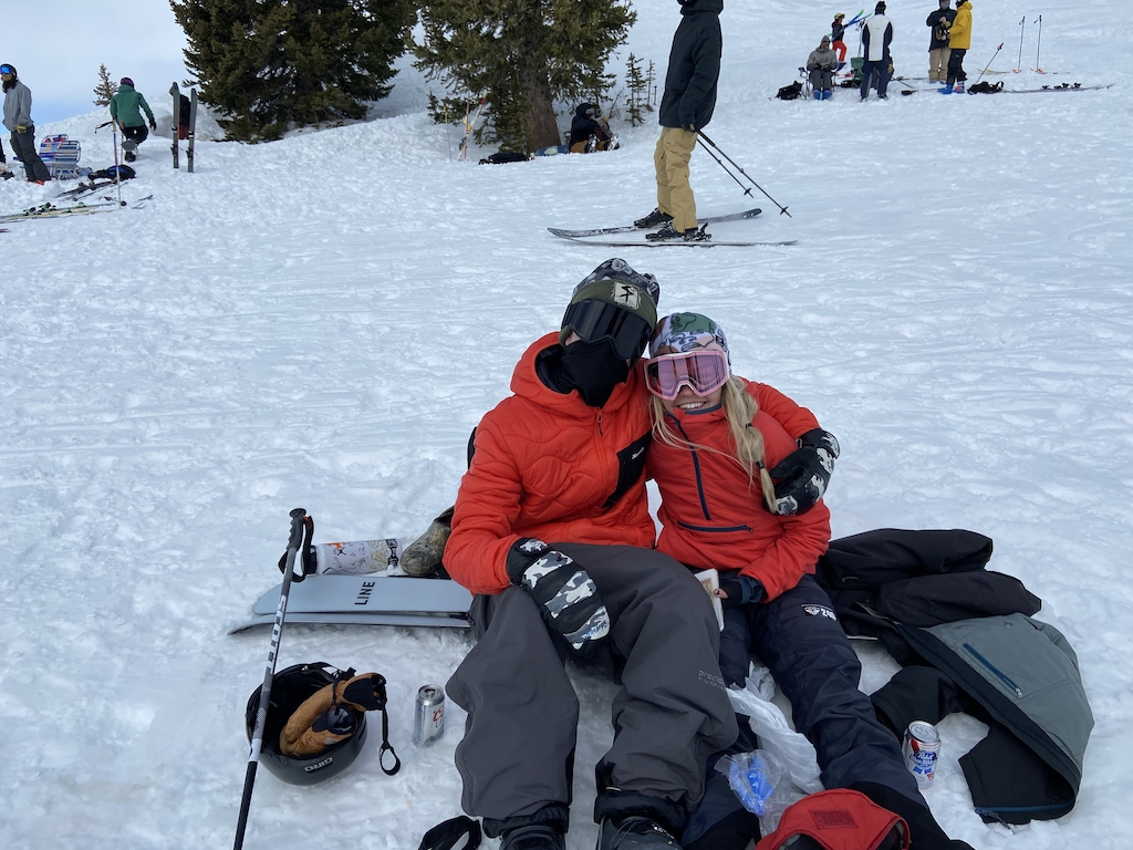 Ellie Oates from Aspen, who competed in the Snowbird ski competition, and her boyfriend