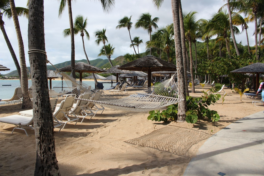 Room to relax on the calm beach side of Curtain Bluff Resort