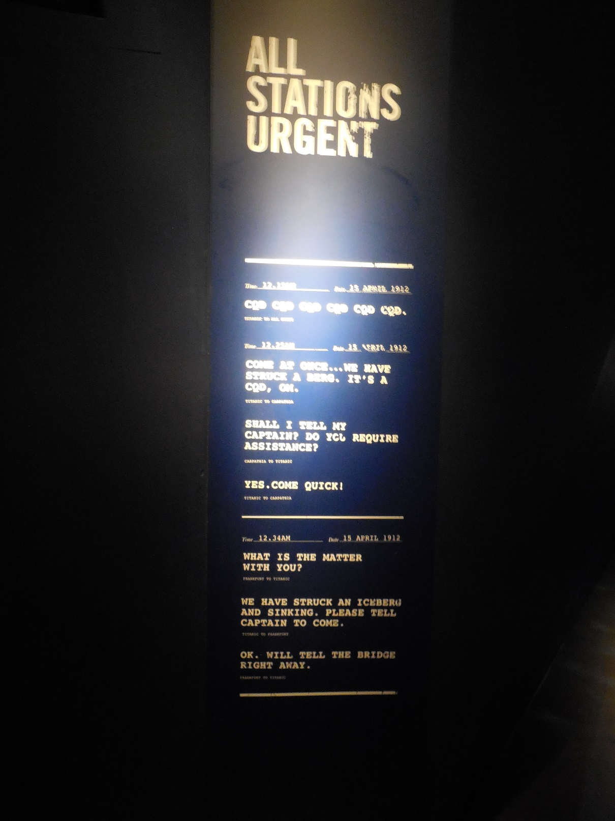 SOS messages from Titanic to Carpathia, exhibit in Londonderry museum