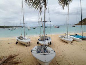 Sailboats ready for racing at the Anguilla Youth Sailing Club