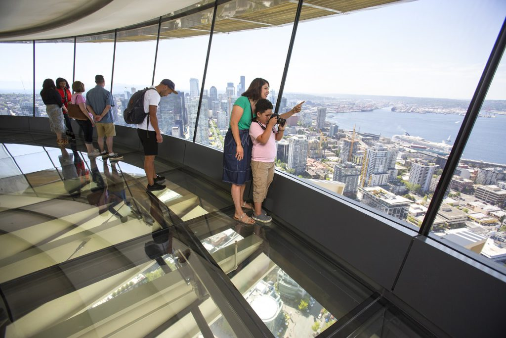 Seattle Space Needle, new glass floor and benches at the top of the needle