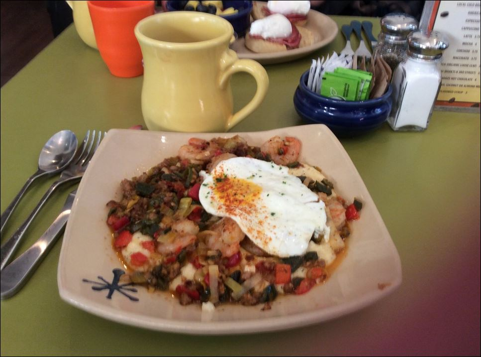 Shrimp and grits at Snooze an AM Eatery in Denver Union Station