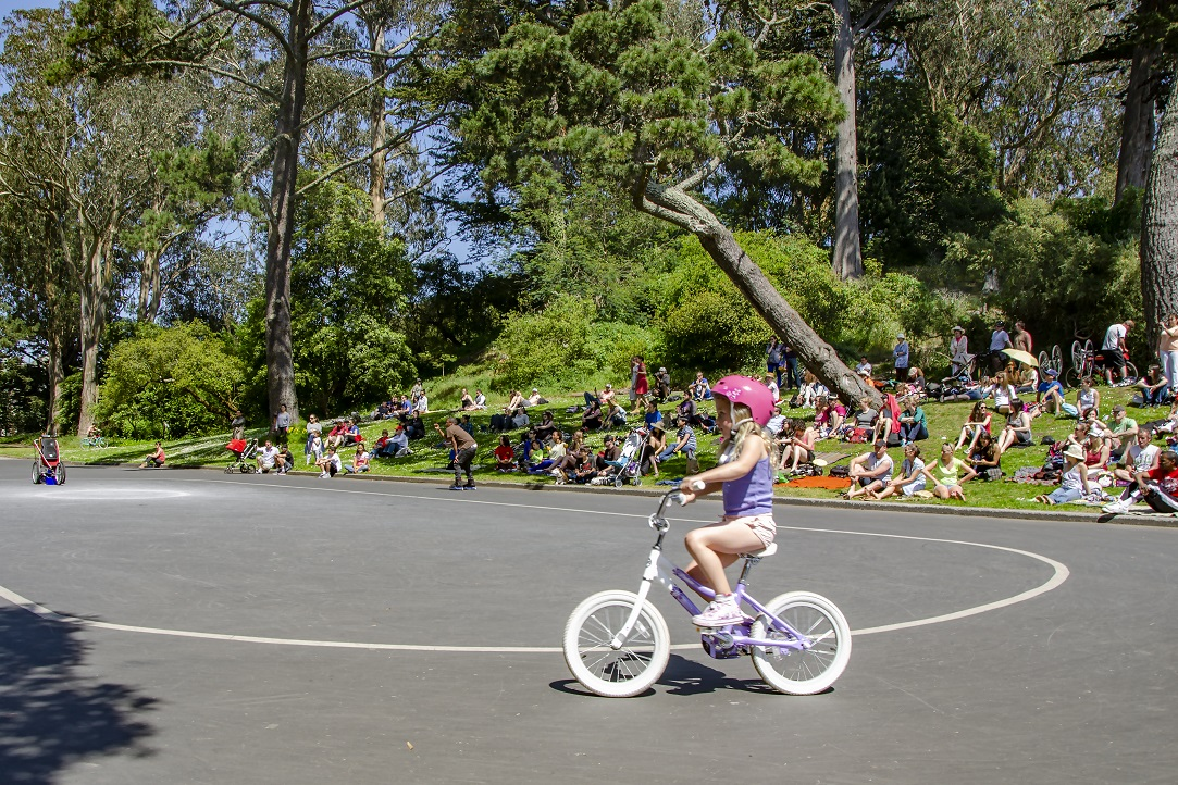 Skaters and bikers in Golden Gate Park