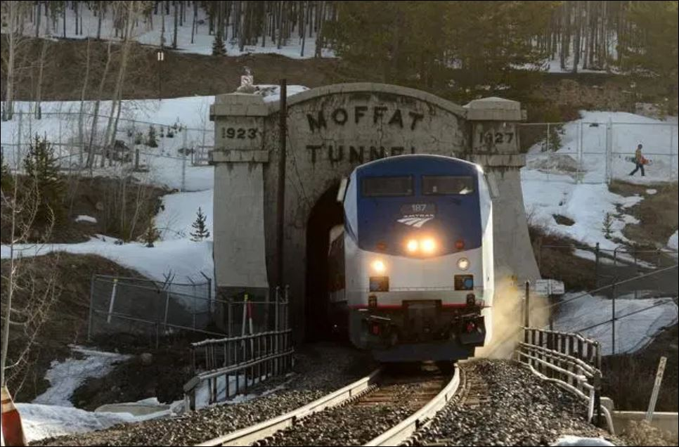 Ski train emerges from Moffat Tunnel at Winter Park