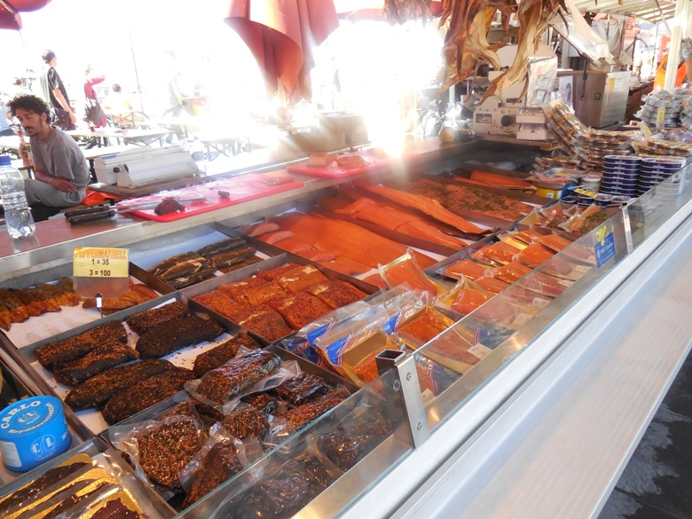 Smoked fish at the market in Bergen