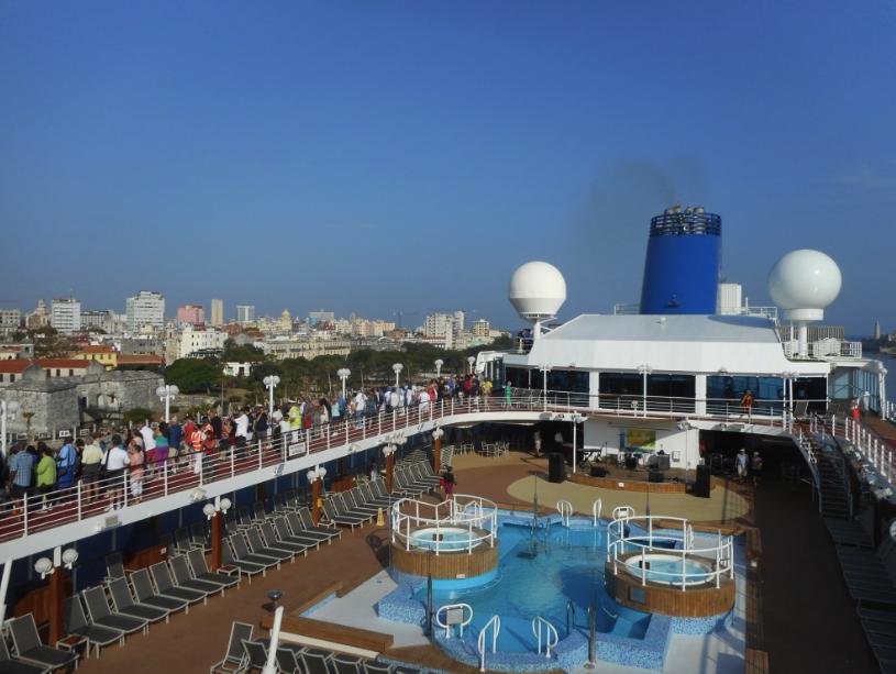 Adonia passengers cheering as ship enters Havana Harbor