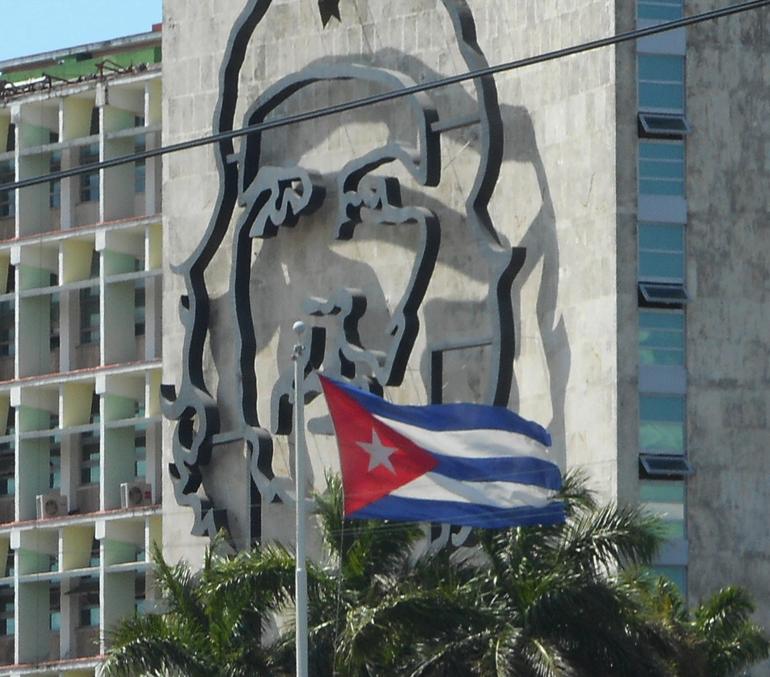 Che Gueverra likeness at Revolutionary Square in Havana
