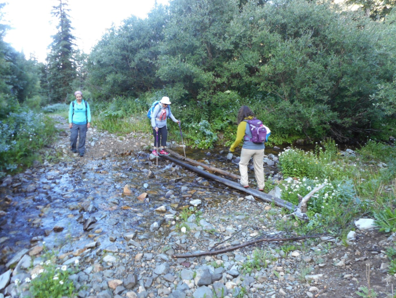 One of many water crossings on the East Maroon Trail
