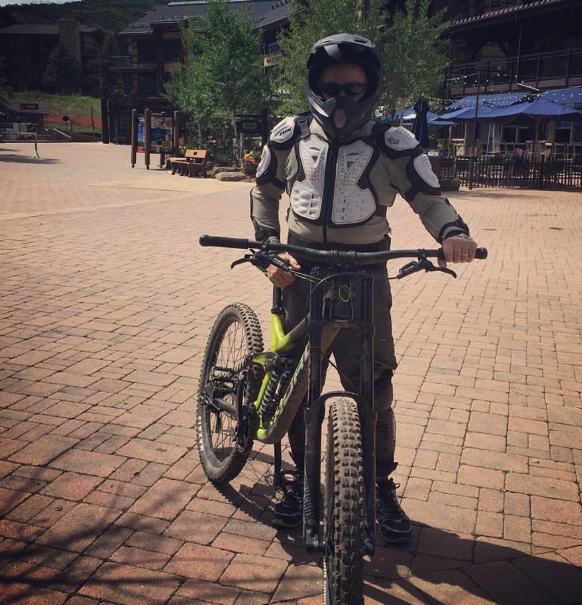 Andy tries mountain biking at Snowmass