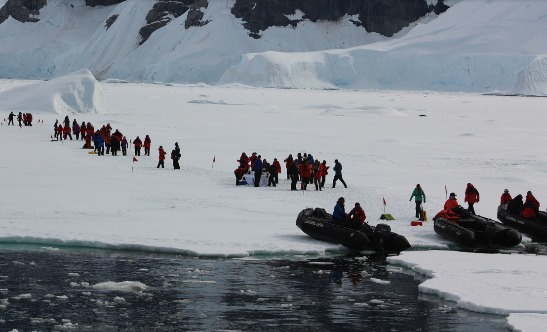 """New Years Day excursion on """"fast ice"""" of Wilhelmina Bay Antarctica"""