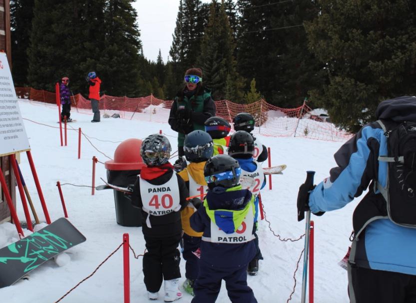 Ski school class at the lift in Ski Cooper