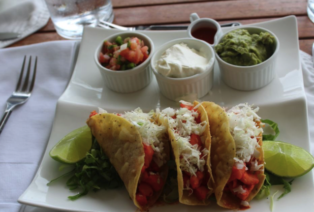 Fish tacos served for lunch at Cayo Espanto