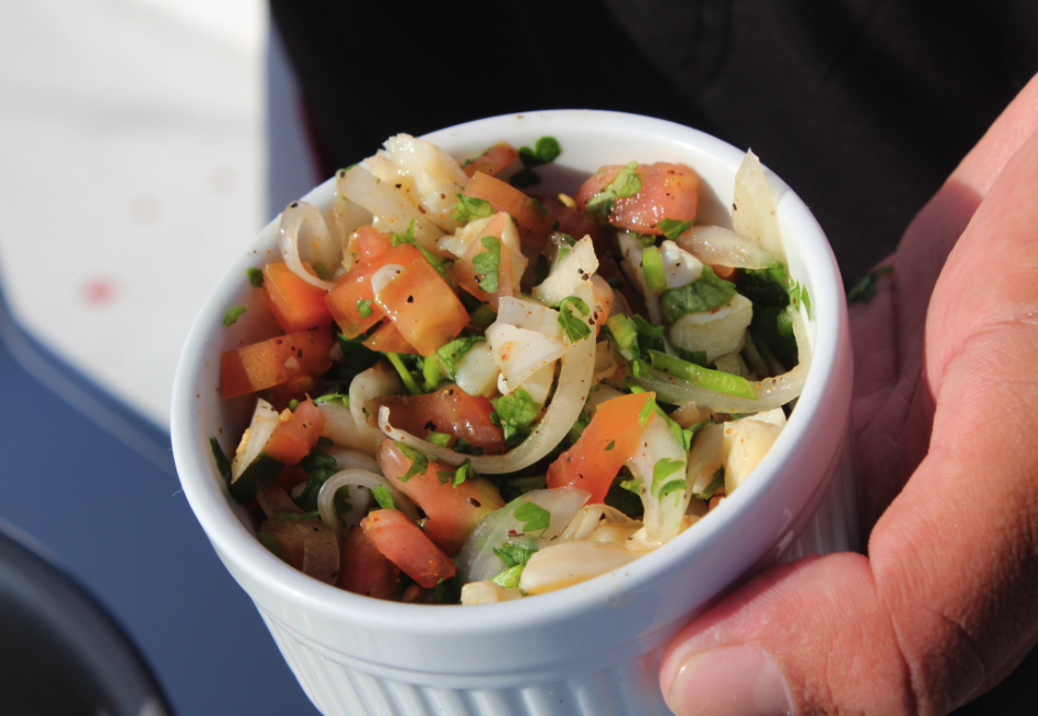 Fresh conch ceviche made on the boat