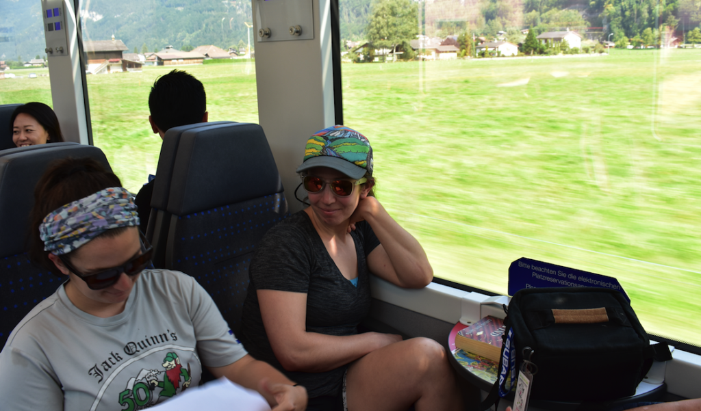 Our daughters Mel and Reg on the train ride to Lauterbrunnen