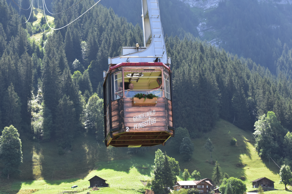 Taking the tram up from Grindewald