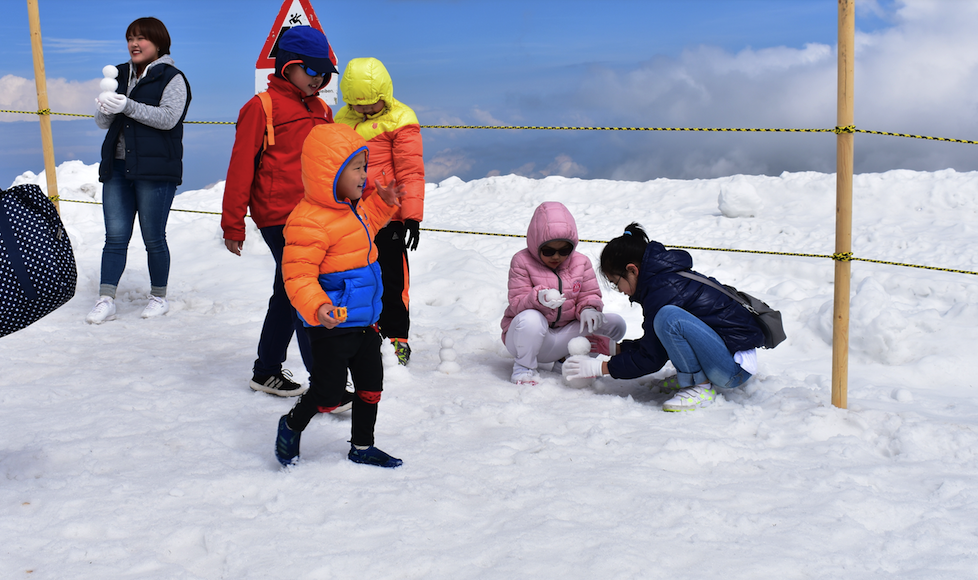 Children of all nationalities playing in snow at Top of Europe