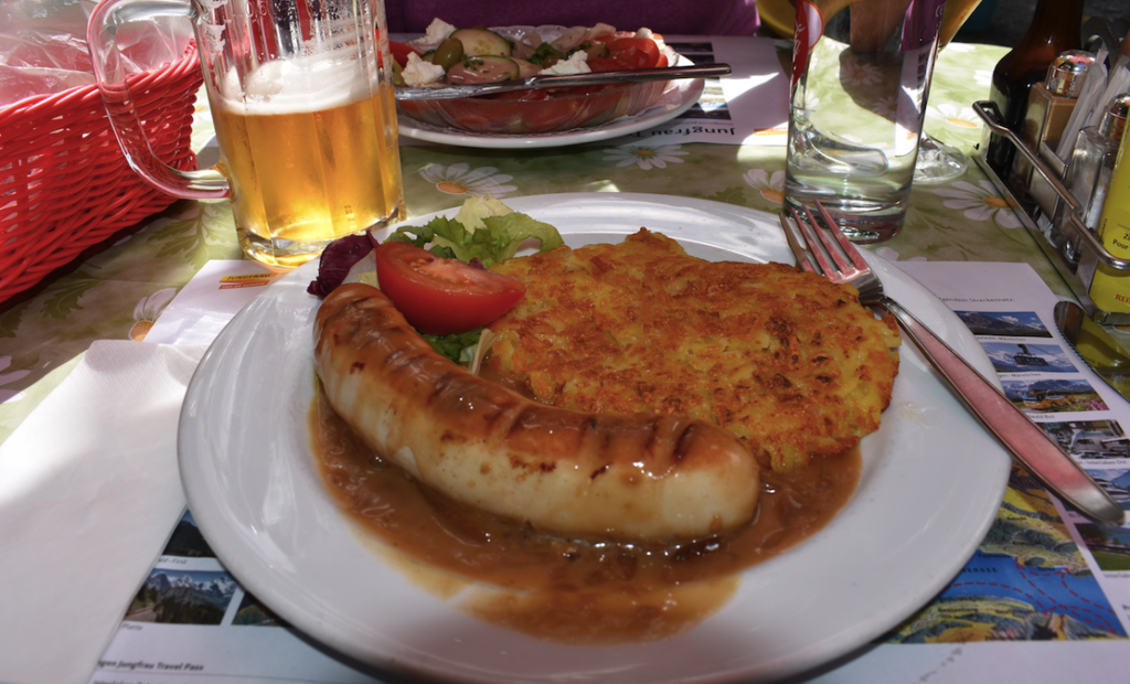 How about a hot lunch of veal wurst and potatoes after a morning hike?
