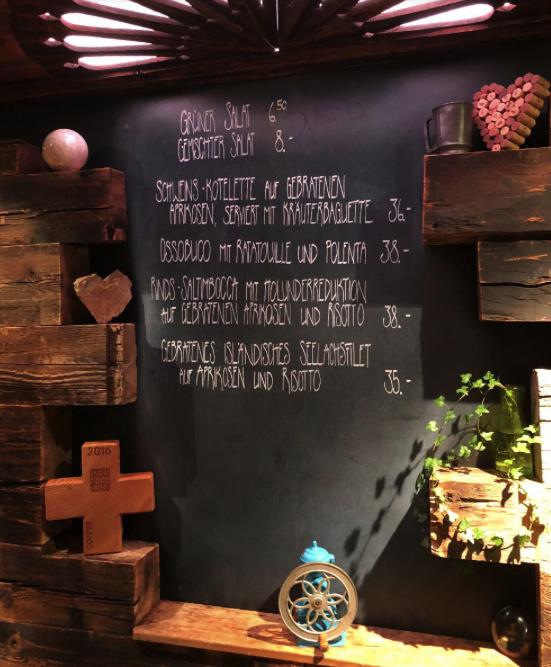 The menu of Cafe 3692 on chalkboard