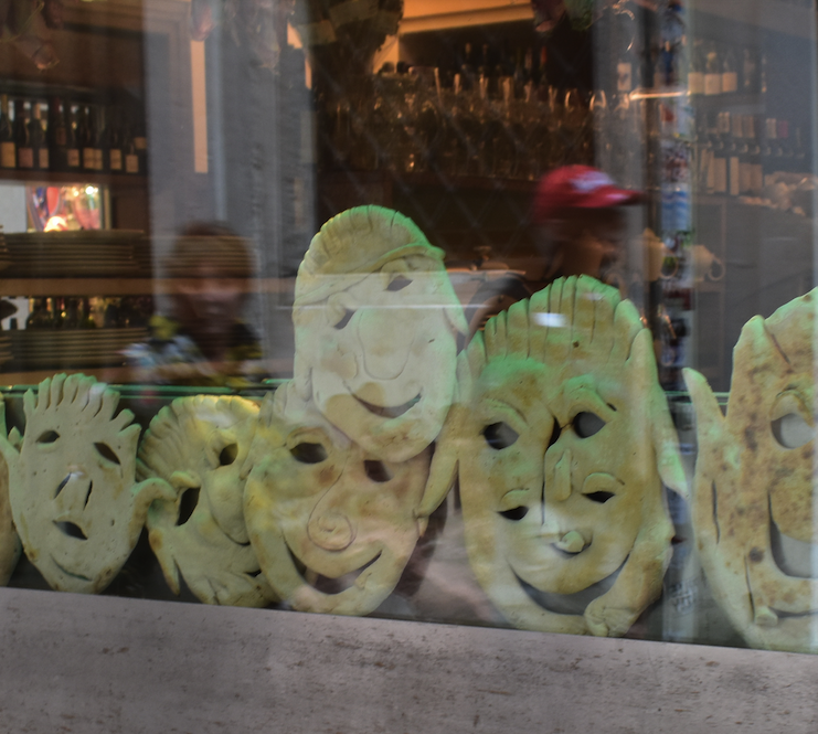 Fun with pizza dough in a shop window