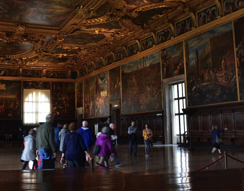 The huge, ornate governing room in the Doges Palace, where Venice was governed for hundreds of years until Napoleon ruined it all