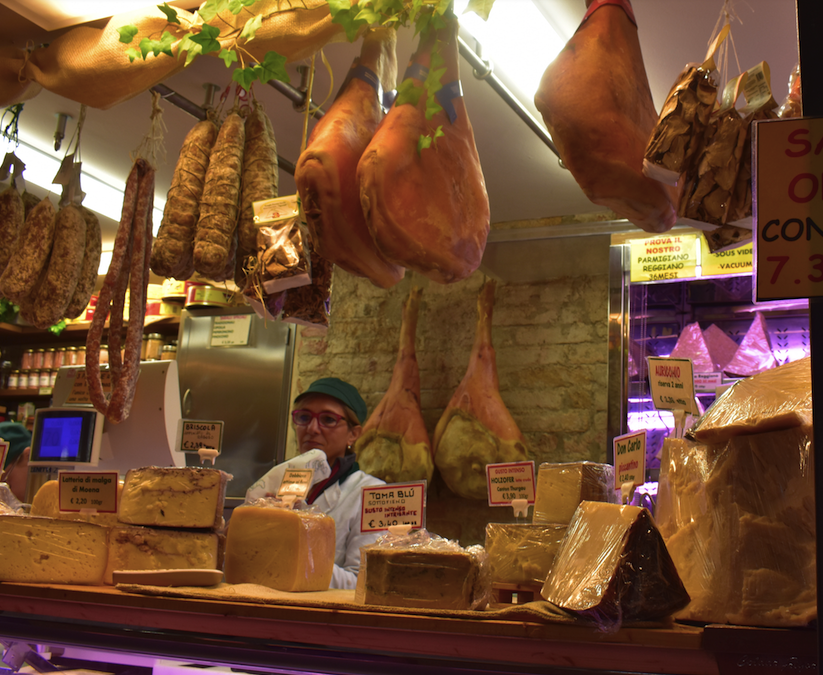 Parmesan cheese and meat shop in Padua Italy
