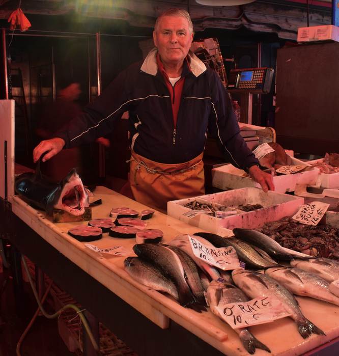 Shark cutlets for sale in Chioggia fish market