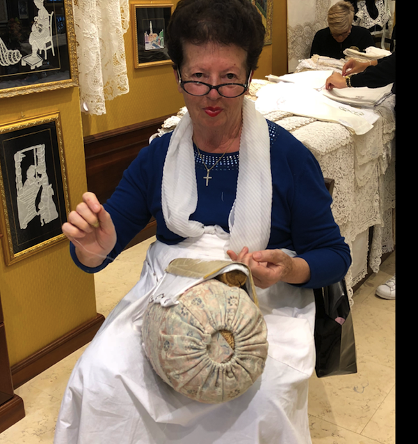 Seamstress making lace in Burano