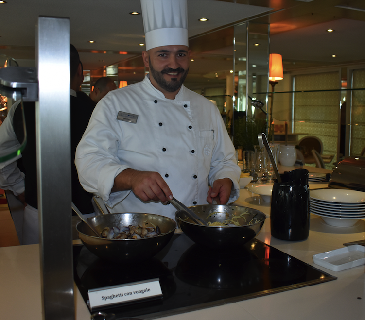 Chef Bogdan serves pasta and clams for lunch back on board the River Countess
