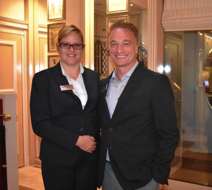 Cruise managers Damiano Olivieri (Italian-Swiss); Carmen Mladenovic (Romania), the hotel manager