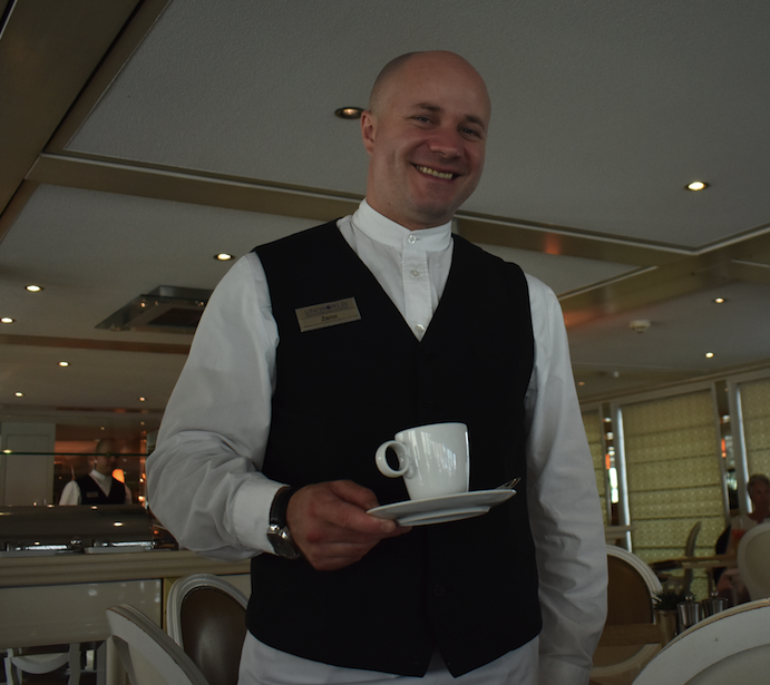 Zarco Georgiev (Bulgaria) always serves with a smile in the dining room