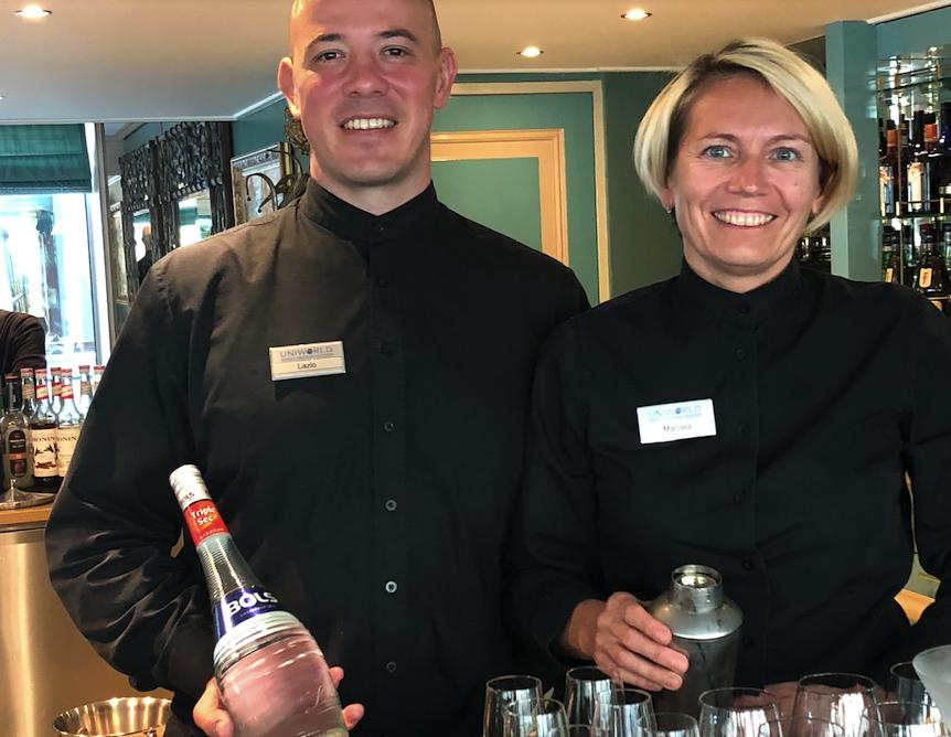 Hospitality hosts Laszlo Besze (Hungary) and Marcella Vsetickova (Czech Republic)