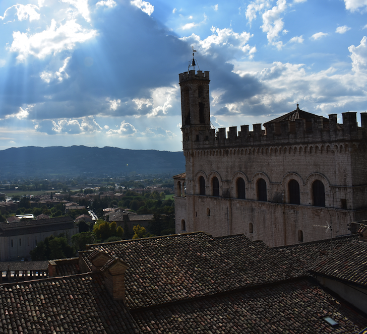 The town center in Gubbio with high bell tower. Unlike most towns  in Umbria, Gubbio never engaged in any medieval wars