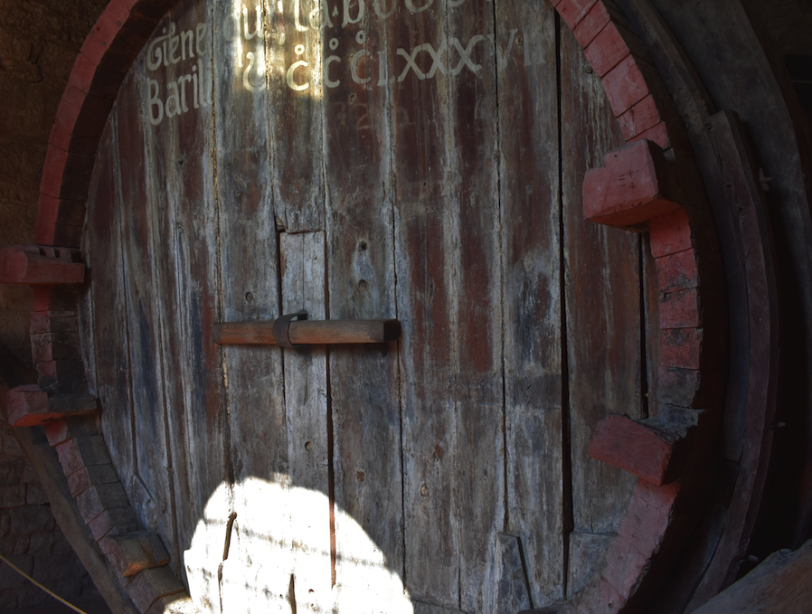 Enormous oak cask in Gubbio that the friars built in the 17th Century. Last filled with wine in 1939, it could hold 20,000 liters