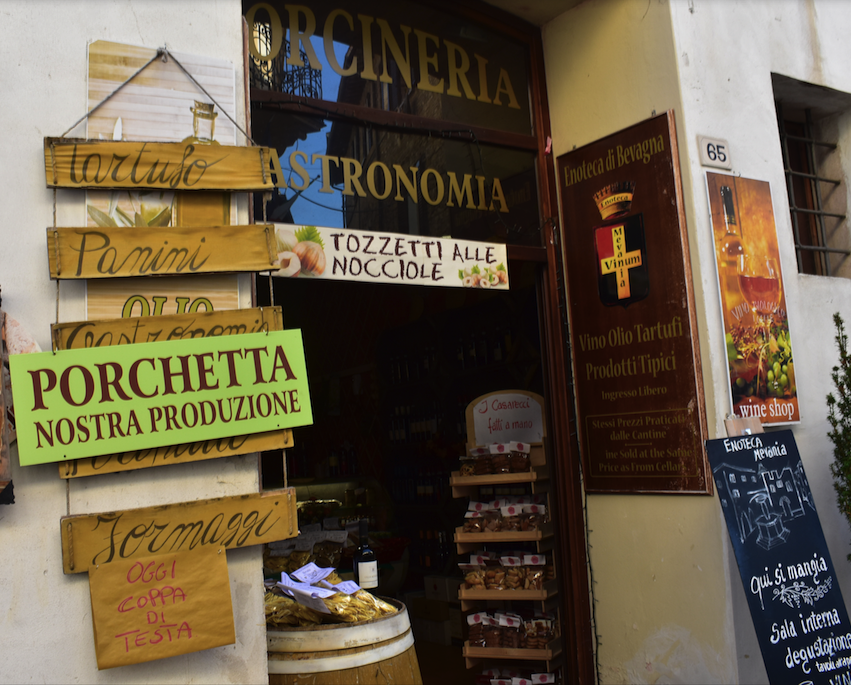 One of dozens of cheese and meat shops in Umbria, this one in Spello