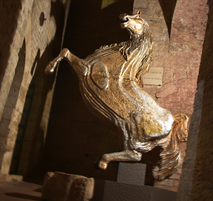 A quirky horse sculpture on display in Perugia