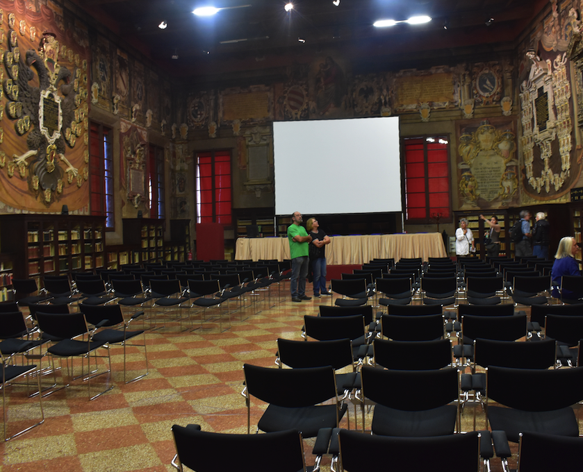 More modern lecture hall at University of Bologna library, which houses millions of ancient books and texts. The University opened in 1088 and is the oldest in Europe