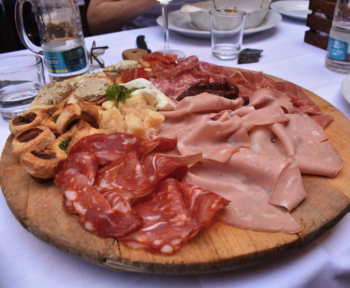 Sliced bologna, salami, prosciutto and other appetizers for lunch