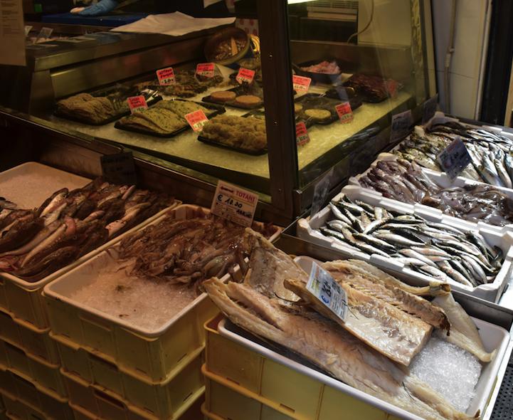 Local fish market in Bologna