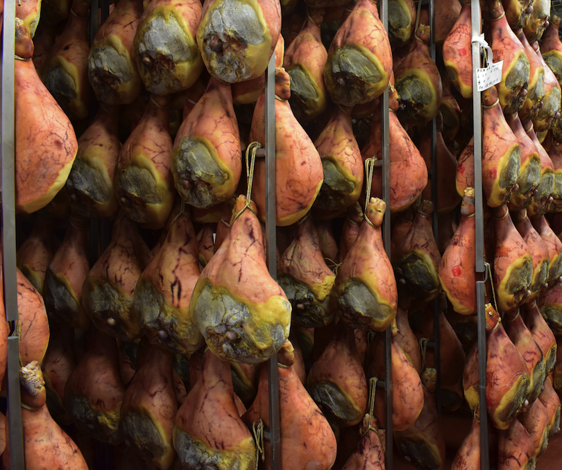 Parma hams being cured in the countryside